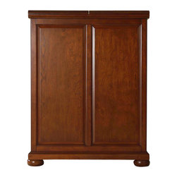 """Crosley Furniture - Alexandria Bar Cabinet in Cherry - Beautiful Raised Panel Doors. Antique Brass Finish Hardware. Plenty of Room for Storing Barware & Spirits. Doubles as a Serving Station when Entertaining. Adjustable Levelers in Legs. Expands to 62 1/2"""" Wide when Open. Solid Hardwood & Veneer Construction. Front & back of bar have matching finish. Assembly instructions. 42in. H x 31.25in. W x 22in. D (150 lbs)Constructed of solid hardwood and wood veneers, this Expandable Bar Cabinet is designed for longevity. The beautiful raised panel doors provide the ultimate in style to dress up your home. The doors open and top folds out to double the size of your entertaining / serving area. Inside the doors, you will find plentiful storage space for spirits, glassware, and a host of other bar items. The center cabinet features 16 bottle wine storage, utility drawer, hanging stemware storage, and extra space for a variety of other barware."""
