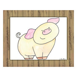 Oh How Cute Kids by Serena Bowman - Here's Looking at You - Pig with Wood Border, Ready To Hang Canvas Kid's Wall De - Every kid is unique and special in their own way so why shouldn't their wall decor be so as well! With our extensive selection of canvas wall art for kids, from princesses to spaceships and cowboys to travel girls, we'll help you find that perfect piece for your special one.  Or fill the entire room with our imaginative art, every canvas is part of a coordinating series, an easy way to provide a complete and unified look for any room.