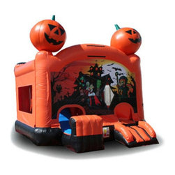 EZ Inflatables - EZ Inflatables Halloween Combo Bounce House - C235 - Shop for Tents and Playhouses from Hayneedle.com! The EZ Inflatables Halloween Combo Bounce House is a frightfully good time for the kids. Be the star of the block this Halloween with this fantastic bounce house made to last from 18.5-ounce PVC-coated vinyl. Not just for bouncing it has a fun crawl space slippery slide and basketball court for endless hours of fun. Let the good times roll with the included 1.5-HP air blower tarp patch kit with glue and hefty anchor spikes.About EZ InflatablesEZ inflatables Inc. has over 14 years of experience designing engineering and creating fun in the form of inflatable jumpers moonwalks and water slides. They have quickly become a leading worldwide supplier in the party rental industry. EZ Inflatables creates safe high performance inflatables that are built to last. All of their inflatables are made tough of the finest quality 18.5 ounce PVC coated vinyl with heavy-duty nylon thread and reinforced rainbow netting windows on all sides.