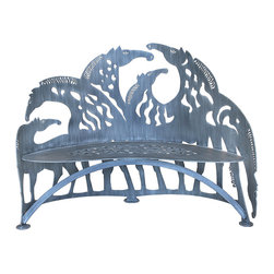 Cricket Forge - Horse Bench - Beautifully designed and elegantly rendered, discover the grace and community of wild horses in this Horse Bench. Each horse is detailed in a unique pattern of stripes and spots, together making up an incredible composition which is sure to become your favorite resting spot in your home or garden. Hand painted with a dry brush technique in grey.