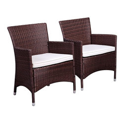"Lamps Plus - Transitional Atlantic Set of 2 Liberty Brown Wicker Arm Chairs - Atlantic Set of 2 Liberty Brown Wicker Arm Chairs. Set of 2. Brown synthetic wicher frame. Aluminum frame construction. Off-white water-repellant polyester cushions. Assembly required. Each chair measures 24 1/2"" wide 23 1/2"" deep 35"" high.  Set of 2.  Brown synthetic wicher frame.  Aluminum frame construction.  Off-white water-repellant polyester cushions.  Assembly required.  Each chair measures 24 1/2"" wide 23 1/2"" deep 35"" high."