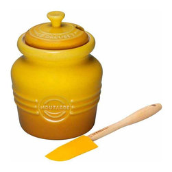 Le Creuset - Le Creuset Stoneware Mustard Jar, Dijon Yellow - Le Creuset stoneware specialty crocks lend convenience and character to the countertop or tabletop, with food-inspired stylings and signature Le Creuset colors. Whether serving or storing, these classic designs recall traditional kitchen jars and crocks and feature all the durable and quick-cleaning benefits of Le Creuset stoneware.