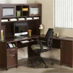Bush Office Connect Achieve L-Shaped Desk with Hutch - Sweet Cherry - Create a home office with the spacious workspace and storage options you need to with the Bush Office Connect Achieve L-Shaped Desk with Hutch - Sweet Cherry. This well-crafted desk and hutch are made of wood solids and veneers and feature a backside that is completely finished. The L shape of the desk means you can create more space in your home office by positioning it in a corner. This set includes a durable, expansive work surface with an integrated wire management grommet and four-port USB hub. Meanwhile, the handy pull-out tray works for a traditional keyboard or laptop, and there's also a charging station, supply drawer, and lockable file drawer for your letter-sized files. There's even more storage in the right pedestal, which has a large storage compartment and adjustable shelf tucked inside.About Bush FurnitureBush Furniture is the eighth largest furniture company in the United States. Bush manufactures high-quality products, which are designed to be easily assembled and provide great value for the price. Bush furniture is made from a combination of particleboard, fiberboard, and solid wood components. The use of real wood components will be noted in the product description, if applicable.Bush Industries has over 4,000,000 total square feet of manufacturing, warehousing, and distribution space. This allows for a very wide selection of high-quality furniture with the ability to ship quickly. All standard residential Bush products carry a generous 6-year warranty. All Bush business furniture, including the A series, C series, and Quantum series, is backed by a 10-year warranty from Bush, one of the best in the industry.