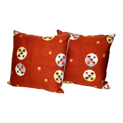 Acapillow - Japanese Ikat Pillow, Pair - You may not have a vibrant silk ikat kimono, but if you did, this is what your pillows would look like covered in it. Add these stunning red pillows to your couch or bed for an instant upgrade.