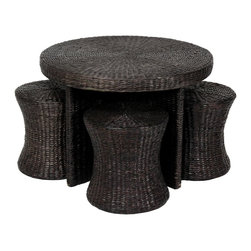 Oriental Furniture - Rush Grass Coffee Table with Four Stools - Black - Natural fiber round table and stool set, includes one table and four stools as shown. Lightweight and strong, crafted in classic rattan style.