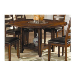 Lifestyle California - La Mesa Folding Leaf Dining Table in Dark Pecan Finish - Marble turntable. One open shelf. Made from wood. Made in Vietnam. Table when round: 59 in. Dia.. Table when square: 42 in. L x 42 in. W
