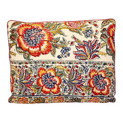 Floral Block Print Pillow - Bring some exotic zing to your favorite setting with a decidedly unfussy floral. This pillow features an Indian block print on the front, stripes on the back and an all-around red welt edge.