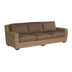 Whitecraft - Whitecraft Saddleback Sofa - Enjoy plenty of quality time outdoors with Whitecraft's weather-resistant collection. Saddleback's warm finish produces a striated effect to the simple wicker weave giving the frames movement and depth. Softly curved the low profiles are modern in scale. Crisp plush upholstery is generously portioned and is a perfectly fashionable way to unwind.As firm believers in tradition and a strong belief in the art of craftsmanship Woodard has acquired Whitecraft Furniture the longest-lasting wicker company in the U.S. While wicker is known for its strength and durability those attributes are overshadowed by the ingenuity and elegance of Whitecraft furniture. Handcrafted and built to last. Whitecraft by Woodard is the beautiful woven patio furniture counterpart to Woodard's wrought iron and aluminum lines. With a variety of styles and finishes to fit your outdoor needs. Escaping to your own private outdoor oasis soothes the soul. Whether you're looking to create a casual seating area a sophisticated outdoor dining space or a complete outdoor room you'll find everything you need right here. Make a personal style statement—elegant exotic traditional modern or transitional—whether you have a covered porch deck pool-side patio or garden nook. We have the styles finishes fabrics and designs to fit any need. Whitecraft patio furniture has been creating hand-crafted patio furniture for almost 100 years. Whitecraft patio furniture quality designs and comfort have allowed Whitecraft the opprotunity to enlarge their offerings year after year.