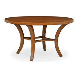 Carter Round Dining Table - Fresh yet familiar, the Carter Round Dining Table lends smooth texture in the dining room or kitchen. Four dramatically splayed legs are connected by an arched crossbar for a look that combines mid-century appeal and artistic flair. This wood furnishing is available in two sizes. Shown in Burnt Caramel. Our Cottage House Collection is a wonderful blend of antique cottage style furniture that beautifully interpret reproductions through a labour of passion and quality. Using a multi-layered hand lacquering and antiquing process, these heirloom quality furniture pieces are designed to last generations. What makes this collection stand out from the rest is its great attention to detail and solid hardwood construction. Hand applied distress markings artistically mimic normal wear closely representing the original antique piece. The ideal solution to bring an eclectic, old world feeling into today's modern decor!