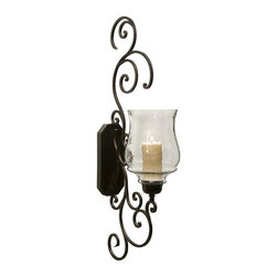 """IMAX Worldwide Home - Angelina Grand Scrollwork Candle Sconce - Scrolled iron sconce that is accented with a fluted glass hurricane. Wall Sconces. 40 in. H x 18.25 in. W x 8.25""""l. 75% Iron, 25% Glass"""