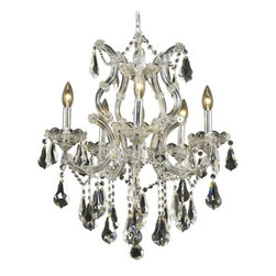"""PWG Lighting / Lighting By Pecaso - Karla 6-Light 20"""" Crystal Chandelier 2381D20C-RC - Karla was an Empress from 1740 to 1780 in the waning days of the Baroque period. The Baroque love of embellishment is highlighted in the elaborate crystal swags and drops that fully dress these fixtures in a look that is pure luxury. From the gold or chrome finish to the fully lavish crystal dressing, this Karla collection represents opulent sophistication."""