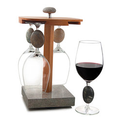 Sea Stones - Sea Stones Wine Glass Pirouette - The pirouette is form and function in chorus. It serves both as a display for your favorite collection of our stone-stemmed wine glasses and keeps them close at hand and easy to enjoy. Our pirouette combines the warmth of cherry wood and the timelessness of granite. It inspires you to get your glassware out from hiding in the cabinets and front and center on the countertop, ready to use and relish.
