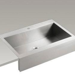 """KOHLER - KOHLER K-3942-1-NA Vault Top-Mount Single Bas Sink with Shortened Apron-Front - KOHLER K-3942-1-NA Vault top-mount single basin stainless steel sink with shortened apron-front for 36""""cabinet in Not Applicable"""