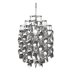 IMPORT LIGHTING & FURNITURE - Spiral Mini Pendant Light, Chrome - Pendant made of cellidor spirals on a three ring metal frame. Mounted with chrome ceiling canopy. *Bulbs are not included.