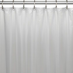 "Extra Wide, 5 Gauge Vinyl Liner w/ Metal Grommets in Frosty Clear - Extra wide 5 gauge vinyl shower curtain liner with metal grommets in Frosty Clear, size 108"" wide x 72"" long. This Extra Wide (108'' wide x 72'' long) Shower Curtain Liner (perfect for corner bathtubs!!) is made of a heavy, 5 gauge vinyl that easily wipes clean with a sponge in warm, soapy solution. Additionally, rust-proof metal grommets along top of the liner prevent unsightly tears during installation, removal, and everyday use. Not only will our liner protect your fabric shower curtain, it serves nicely as a standalone shower curtain. Here in Frosty Clear, this style liner is also available in bone, white, or super clear.     Wipe clean with damp sponge with warm soapy cleaning solution"
