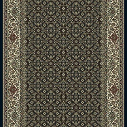 "Dynamic Rugs - Dynamic Rugs Ancient Garden 57011-1414 (Black, Ivory) 6'7"" x 9'6"" Rug - Turn of the Century Persian patterns are skill fully recreated in this exciting and sophisticated collection. The antique shades from sun-washed colors are blended softly with today's fashion of low contrast patterns with field colors of champagne, dusted blue, soft greens, creme, malt and a luxurious black or ruby red. Woven with DECOLAN, a wool-like fine heat-set polypropylene fibre at nearly a million points per square meter to achieve a fine pencil point finish and design clarity."