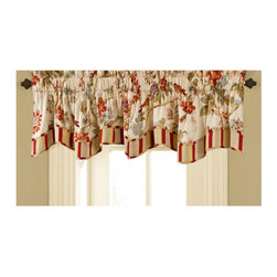 Waverly - Charleston Chirp Valance - - The Charleston Chirp bedding collection is a perfect example of Waverly?s old-world tradition, classic styling, and clean, contemporary fashion.   - The bedding design features branches of roses, tulips and dianthus, with beautifully placed wrens accented in a gentle palette of papaya, sage green, orange rust, eggshell blue and lavender on a soft vanilla ground.   - The all-over nature print is further enhanced by vertical stitched quilting and finished with a coordinating self-piping decorative trim to match the stripe reverse.   - Versatile, stripe to floral reversible quilt allows you to change your look in seconds for the perfect bedroom retreat.   - Coordinating reversible shams and vertical stripe bed skirt are included in the quilt set.   - Quilted shams feature a 3? scalloped flange with stripe accent self-piping.   - Coordinating, decorative quilted 20? square pillow sold separately.   - Complete the look with the coordinating 50? wide valance.   - 3? Rod pocket window valance fits up to a 2 1/2? decorative rod.   - Gather two or more scalloped valances on decorative rod for an elegant update to any window.   - Valances feature stripe self-piping to coordinate back to quilt set.   - Valance can be hung with solid panels of your choice for a full window ensemble.   - Quilt set and coordinating accessories are 100% cotton fabric with cotton fill.   - Imported.   - Valance only, all other coordinating items sold separately. Waverly - 11396050X016PPY