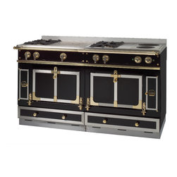La Cornue of France Chateau 150 in Black - At 150 cm (59 inches), The Chateau 150 features two gas or electric ovens, multiple burner configurations, and a variety of colors and trim options to choose from.  Shown in black.