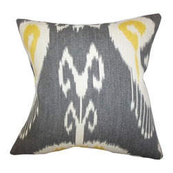 "The Pillow Collection - Cleon Ikat Pillow Gray 18"" x 18"" - Give an exotic touch to your bed, sofa or couch with this accent pillow. Great for indoor use, this square pillow adds comfort with its 100% soft cotton material. Mix and match with solids and other ikat patterns from our pillow collection. Made in the USA. Hidden zipper closure for easy cover removal.  Knife edge finish on all four sides.  Reversible pillow with the same fabric on the back side.  Spot cleaning suggested."