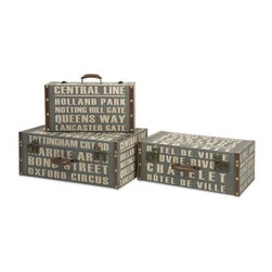 Central Line Suitcases - Set of 3 - The set of three Central Line suitcases feature bold typography reminiscent of street signage in a steel blue shade.
