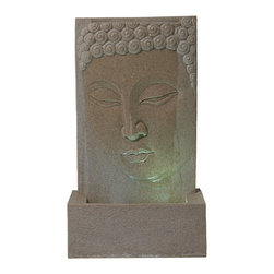 """Lamps Plus - Sandstone Buddha LED Indoor/Outdoor Fountain - A fountain is a great way to add a peaceful accent to your decor. This indoor/outdoor water fountain features a sensitively carved face of the Buddha smiling gently from the basin of this stunning sandstone texture faux stone design enveloped in a cascading wash of pure water. This illuminated fountain glows with warm light from two LED clusters. Polyresin construction is lightweight and easy to place inside or out. No need to worry about discolored chips - both the surface and core are textured sandstone finish. A convenient power cord is included; simply add water plug in and enjoy! Indoor/outdoor illuminated water fountain. Lightweight resin construction. Sandstone finish inside and out. Includes two LED clusters. 39 1/2"""" high. 22 3/4"""" wide. 15"""" deep. Includes 6' cord.  Buddha face fountain.  Indoor/outdoor illuminated water fountain.  Lightweight resin construction.  Sandstone finish inside and out.  Includes two LED clusters.  Pump is included.  39 1/2"""" high.  22 3/4"""" wide.  15"""" deep.  Includes 6' cord."""