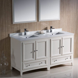 """Fresca - Fresca Oxford 60 Antique White Traditional Double Sink Bathroom Vanity - Featuring an Antique White finish and a double sink, the Oxford 60"""" vanity from Fresca is perfect for a family bathroom. Providing a stylish yet highly practical storage solution for toiletries and bathroom linen, this traditional vanity with solid wood frame is sure to keep your bathroom neat and tidy. Built to stand the test of time, this vanity also includes the quartz stone counter top. Oxford Bathroom Vanity Details:   Dimensions: 60W x 20 3/8D x 32 5/8H Solid wood frame Quartz stone counter top Ceramic undermount sinks Dove tail drawers Finish: Antique White Please note: faucet not included"""