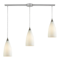 Joshua Marshal - Three Light Satin Nickel White Glass Multi Light Pendant - Three Light Satin Nickel White Glass Multi Light Pendant