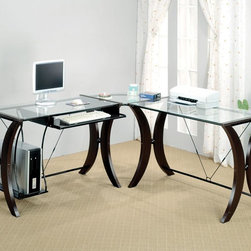 Coaster - Cappuccino Contemporary Desk - This stylish home office desk features a glass top CPU stand and cappuccino finished legs.