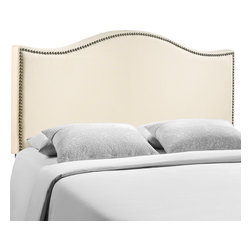 LexMod - Curl Queen Nailhead Upholstered Headboard in Ivory - Wavy lines and a welcoming design make the Curl headboard series a selection of elegance. Upholstered in fine linen with a fashionable nail button trim, Curl shows off the best of modern design with a fluid style that speaks volumes. Made from particleboard with solid wood poles, Curl makes it easy to curl up to while pleasantly supported by this perfect centerpiece for your bedroom.