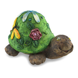 Zeckos - Ceramic Turtle Statue with Floral Shell Home/Garden Accent - This turtle statue is a whimsical home, porch, patio, garden or flower bed accent that symbolizes good fortune that's said to bring years of happiness This 9.5 inch high, 16.5 inch long, 12 inch wide (24 x 42 x 30 cm) ceramic decorative sculpture features raised faceted jewel accented flowers with scroll-work stems on the green shell. It's hand-painted with sparkling highlights and looks just like stone. It's amazing out by the pool or pond, and makes a wonderful gift for turtle lovers