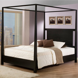 None - Napa Queen-size Black Canopy Bed - This solid hardwood queen size canopy bed would bring a huge splash of hotel luxury straight into your home. Its tall,elegant,tapered posts and open top oozes sophistication and the cut out headboard adds a modern appeal to this classic piece.