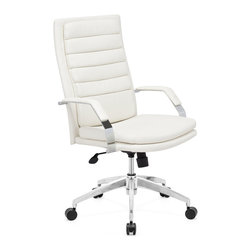 ZUO MODERN - Director Comfort Office Chair White - This chair has a leatherette wrapped seat and back cushions with chrome solid steel arms with leatherette pads. There is a height and tilt adjustment with a chrome steel rolling base.