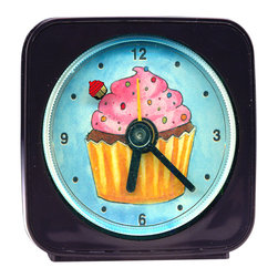 Cupcake Alarm Clock - Made from an original painting, our sweet Cupcake Alarm Clock's second hand is a baby cupcake which floats magically around the edge of the clock as it counts the seconds. 2.25'' square, each alarm clock comes in a gift box and includes a free battery. Made in the USA. Be sure to look for our cupcake night light, wall clock, and magnets, too!