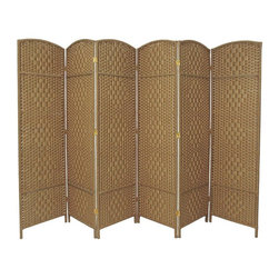 "Oriental Furniture - 6 ft. Tall Diamond Weave Fiber Room Divider - Natural - 6 Panel - This Diamond weave room partition is a practical accessory and beautiful decorative accent. The arch top panels are wider than most, almost 20"". Tough, durable spun plant fiber cord is interwoven with quarter inch thick wooden dowels. The distinctive ""diamond"" shape medallions are repeated five per panel, creating a stylish rattan look decorative screen as well as a slightly larger floor screen room divider. The spun plant fiber cord is able to hold dye beautifully, making rich, warm, beautifully colored decorative screens. Note however that this design does allow some light and air to pass though the panels, and does not shut light out completely."
