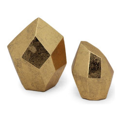 Vertuu Design - Dashiell (Set of 2) - Add some shine to your home with the help of these elegant Dashiell Accent Pieces in two sizes. These polytope shaped pieces are made from polyresin and finished with textured gold leaf. Set them atop an entryway table or mantel for a bold, unique look that pairs well with contemporary decor.
