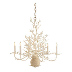 Currey & Company - Seaward Small Chandelier - Seaward is a wonderful rendition of a faux coral chandelier. The off-white finish is enhanced with a natural looking application of sand.