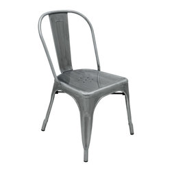 Kathy Kuo Home - Graham Industrial Loft Steel Outdoor Safe French Deco Dining Chair - Smooth, polished silver metal adds Industrial style to this simple, clean-lined café chair. Both modern and retro at the same time, this versatile chair can be used outside on the patio or inside around the dining table. Anywhere it goes, this seat is the best one in the house.