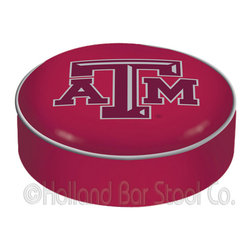 "Holland Bar Stool - Holland Bar Stool BSCTexA-M Texas A&M Seat Cover - BSCTexA-M Texas A&M Seat Cover belongs to College Collection by Holland Bar Stool This Texas A&M bar stool cushion cover is hand-made in the USA by Covers by HBS; using the finest commercial grade vinyl and utilizing a step-by-step screen print process to give you the most detailed logo possible. This cover slips over your existing cushion, held in place by an elastic band. The vinyl cover will fit 14"" diameter x 4"" thick seats. This product is Officially Licensed. Make those old stools new again while supporting your team with the help of Covers by HBS! Seat Cover (1)"