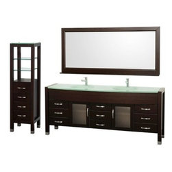 """Wyndham Collection(R) - Daytona 78"""" Double Bathroom Vanity Set & Side Cabinet by Wyndham Collection - Es - The Daytona 78"""" Double Bathroom Vanity Set - a modern classic with elegant, contemporary lines. This beautiful centerpiece, made in solid, eco-friendly zero emissions wood, comes complete with mirror and choice of counter for any decor. From fully extending drawer glides and soft-close doors to the 3/4"""" glass or marble counter, quality comes first, like all Wyndham Collection products. Doors are made with fully framed glass inserts, and back paneling is standard. Available in gorgeous contemporary Cherry or rich, warm Espresso (a true Espresso that's not almost black to cover inferior wood imperfections). Transform your bathroom into a talking point with this Wyndham Collection original design, only available in limited numbers. All counters are pre-drilled for single-hole faucets, but stone counters may have additional holes drilled on-site. Available in additional sizes, finishes and counter options. Features Constructed of solid, environmentally friendly, zero emissions wood, engineered to prevent warping and last a lifetime Includes single-hole faucet mount Includes drain assembly and P-trap Includes mirror Includes side cabinetPlease note that backsplashes MUST be ordered at the same time as the vanity and counter. They cannot be shipped as separate items. Minor shade variations are possible between countertop and backsplash. In the unlikely event that a backsplash arrives damaged you will be given a full refund for the backsplash but it can not be replaced due to the likelihood of breakage. How to handle your counter Spec Sheet Installation Guide for Vanity Spec Sheet for WC-K-W045 Spec Sheet for (V202) Spec Sheet for (V203) Spec Sheet for (V205) Spec Sheet for (V207) Installation Guide for (V207) Natural stone like marble and granite, while otherwise durable, are vulnerable to staining from hair dye, ink, tea, coffee, oily materials such as hand cream or"""