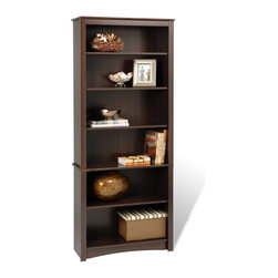"Prepac Furniture - Prepac Sonoma 77"" Bookcase with 6 Shelf in Espresso - This 77"" Bookcase with 6 Shelf in Espresso by Prepac Furniture offers extremely good value for stylish yet budget conscious buyers. This upscale and attractive look is a great addition to your study, office or living room. It is can be individually arranged or grouped together to create a library wall filled with books and collectibles. Constructed from a combination of high quality, laminated composite woods."