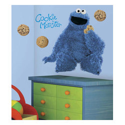 RoomMates Peel & Stick - Sesame Street Cookie Monster Giant Wall Decal - C is for cookie that's good enough for me! your child will love the addition of this giant cookie monster wall decal to their bedroom wall. At almost three feet high it's sure to make a statement! Completely removable and reusable and perfectly paired with our other sesame street wall decals for a full room effect. Just remember... cookies are a good sometimes food!