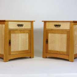 Cherry and Curly Maple Nightstands -