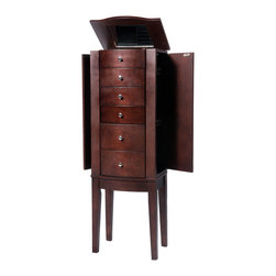 Powell - Powell Merlot Jewelry Armoire - Sized for economy and function,this jewelry armoire is the perfect piece to store all of your beloved treasures. Top opens up,side doors open wide and deep drawers pull out to provide ample storage,and the inside features a plush black lining.