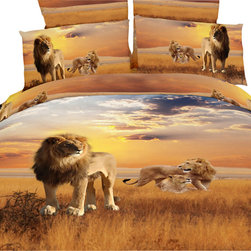 Dolce Mela - Safari Themed Luxury Bedding Duvet Covet Set Dolce Mela DM456, Queen - Decorate your bedroom with this African Lions themed bedding and the wild safari scenery with the beautiful colors of the sunset.