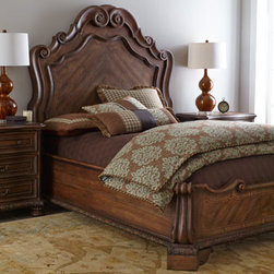 Horchow - Trinity King Bed - Inspired by European antiques, this breathtaking bedroom furniture brings together classic design elements, grand scale, and a relaxed rustic finish for a casually opulent look. Serpentine shapes infuse the pieces with emotion while timeless motifs like...