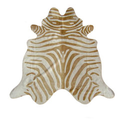 Sunshine - Zebra Print Cowhide Rug (Beige Stripe on Light Beige) - Bold and stylish, our premium beige stripe on light beige zebra print cowhide rugs are a perfect accent for the modern home or loft. Individually hand selected for their superior shine and softness, our hides are ensured to be of the highest quality. Because of its naturally stain-resistant nature, our cowhide rugs are suitable for use in high traffic areas and will last you for a very long time. Originating from the Brazilian grasslands, these hides are hand finished with the best tanning methods possible. Our supple rugs complement any home decor, from chic to rustic, and lets your guests know what exceptional taste you have.