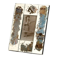 Kathy Kuo Home - Specchio Vintage Wood Rustic Hand Painted Picture Frame- Aqua - A distressed effect has never looked so stylish as in the Specchio frame, which celebrates the beauty of hand painting and deliberate imperfection, well, perfectly!  Celebrate precious memories with this unique frame; a perfect piece for rustic, industrial, and even country influenced spaces.