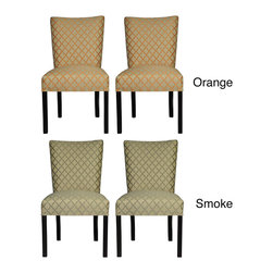 None - Julia Eddy Dining Chairs (Set of 2) - These chic fan-back dining chairs are the perfect accent to any stylish dining table. With comfortable fire-retardant seat cushions and concave roll-top backrest,these chairs create a calming place to relax while adding style to your living space.