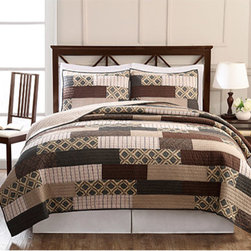 Pem America - Arcadia Brown and Tan Three-Piece Full/Queen Quilt Set - - Classic patchwork quilt with darker earth tone and geometric prints. 100% Cotton, pieced face cloth and cotton rich fill make this quilt a casual and comfortable addition to your home  - Set Includes: Full/queen quilt, two standard shams (20x26 inches)  - 80% cotton/20%polyester fill  - Pre-washed for comfort and durability.  - Cleaning Care: Machine wash cold/gentle, do not bleach, tumble dry low. Pem America - QS8580FQ-2300