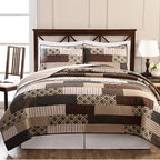 Pem America - Arcadia Brown and Tan Three-Piece Full/Queen Quilt Set - - Classic patchwork quilt with darker earth tone and geometric prints. 100% Cotton pieced face cloth and cotton rich fill make this quilt a casual and comfortable addition to your home  - Set Includes: Full/Queen Quilt Two Standard Shams (20x26 Inches)  - Made with 80% Cotton and 20% Polyester Fill  - Pre-Washed For Comfort and Durability.  - Cleaning Care: Machine Wash Cold/Gentle Do Not Bleach Tumble Dry Low. Pem America - QS8580FQ-2300